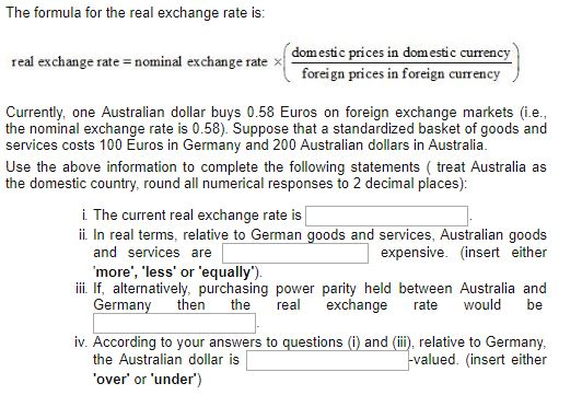 Question The Formula For Real Exchange Rate Is Domestic Prices In Currency Foreign