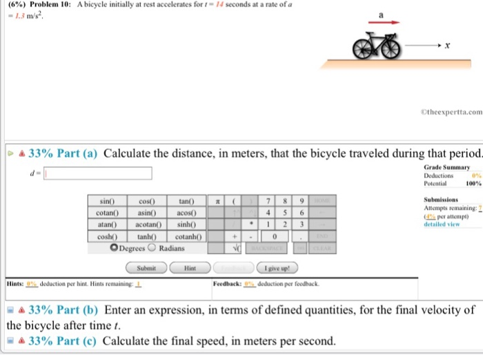 Solved 6 Problem 10 13 Ms A Bicycle Initially At