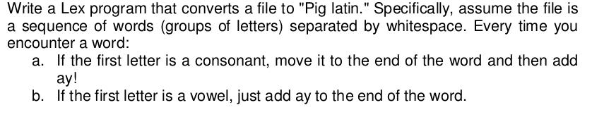 Write A Lex Program That Converts A File To