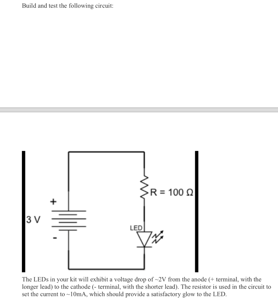 Solved Build And Test The Following Circuit R 100 3 V Leds In Series Resistor Led Terminal