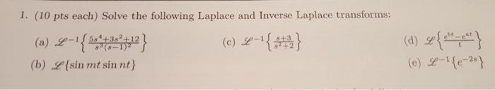 1 (10 pts each) Solve the following Laplace and Inverse Laplace transforms: (c) -1 } (c) Y-It +2 (b) Y(sinrnt sin nt} ( ) e)--1 { e-28 d ︶