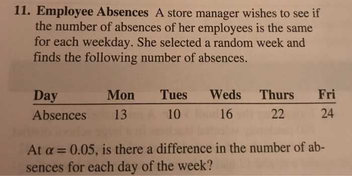 solved 11 employee absences a store manager wishes to se