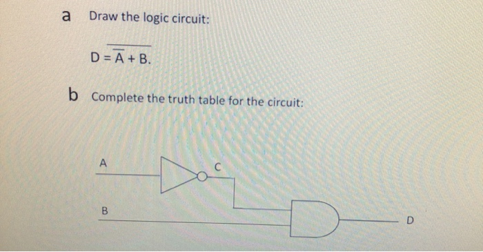 a Draw the logic circuit: D=A+B. b Complete the truth table for the circuit