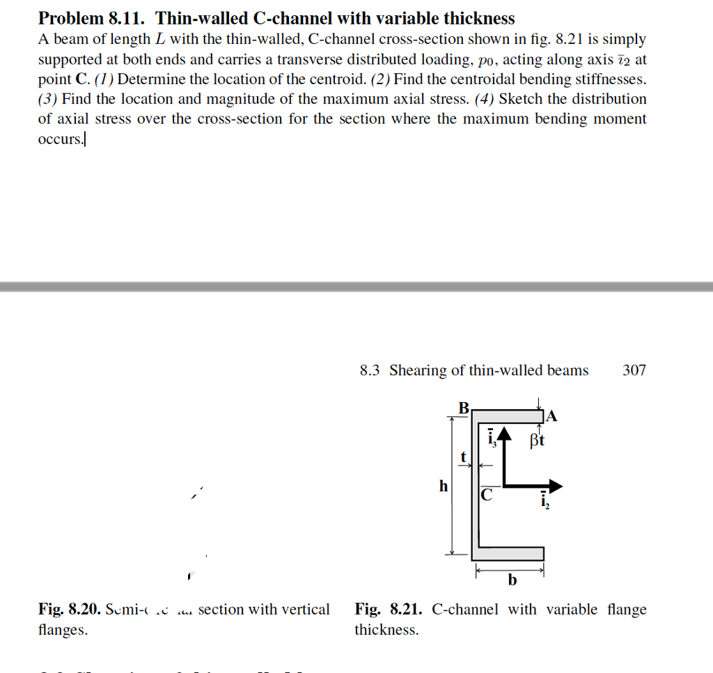 Solved: Problem 8 11  Thin-walled C-channel With Variable