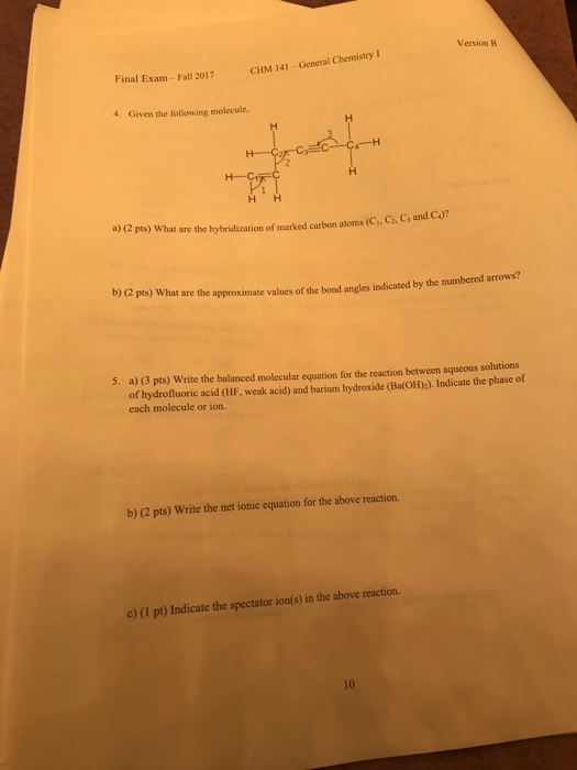 Solved: Version B General Chemistry I Final Exam- Fall 201