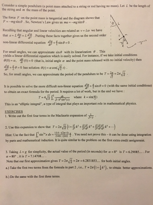Solved: Consider A Simple Pendulum (a Point Mass Attached