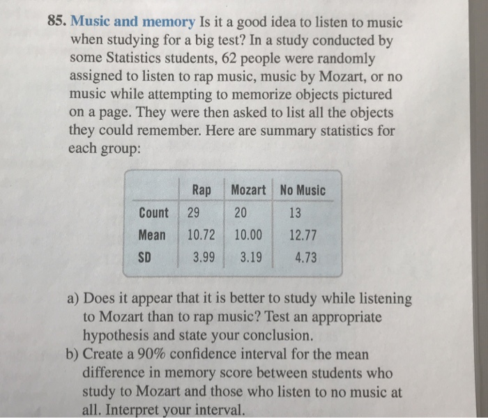 Solved: 85  Music And Memory Is It A Good Idea To Listen T