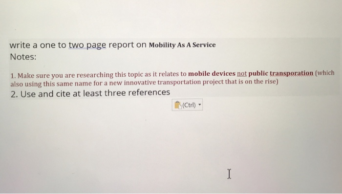 Solved: Write A One To Two Page Report On Mobility As A Se