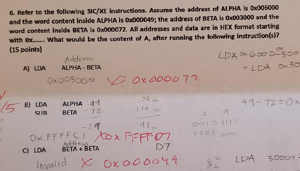 Refer To The Following Sic Xe Instructions Ume Address Of Alpha