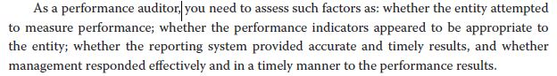 As a performance auditor, you need to assess such factors as: whether the entity attempted to measure performance; whether th