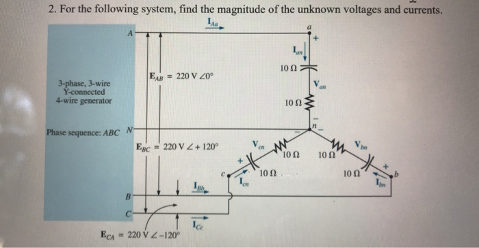 4 wire 220 volt diagram solved 2 for the following system  find the magnitude of  solved 2 for the following system
