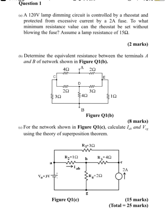 question 1 protected from excessive current by a 2a fuse  to what minimum  resistance value