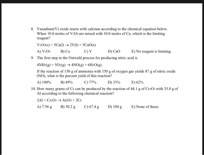 Solved: Chapter 3: Stoichiometry Quiz Key 1  There Are Two