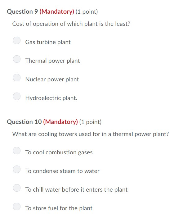 Solved: Question 9 (Mandatory) (1 Point) Cost Of Operation
