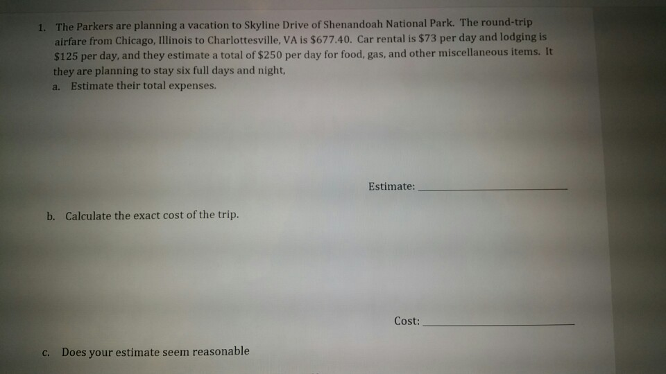 The Parkers Are Planning A Vacation To Skyline Drive Of Shenandoah National Park Round