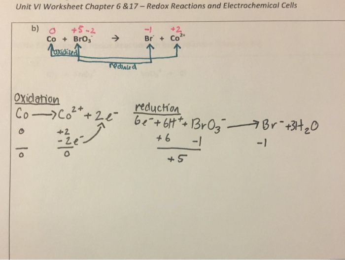 Unit VI Worksheet Chapter 6&17- Redox Reactions An ...