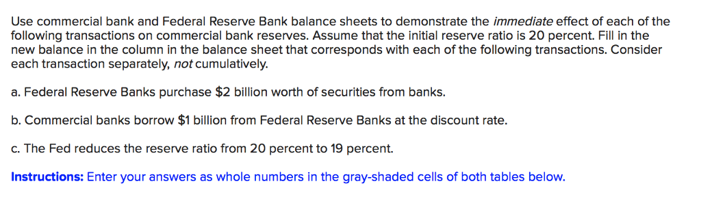 Use commercial bank and Federal Reserve Bank balance sheets to demonstrate the immediate effect of each of the following transactions on commercial bank reserves. Assume that the initial reserve ratio is 20 percent. Fill in the new balance in the column in the balance sheet that corresponds with each of the following transactions. Consider each transaction separately, not cumulatively a. Federal Reserve Banks purchase $2 billion worth of securities from banks. b. Commercial banks borrow $1 billion from Federal Reserve Banks at the discount rate. c. The Fed reduces the reserve ratio from 20 percent to 19 percent. Instructions: Enter your answers as whole numbers in the gray-shaded cells of both tables below.