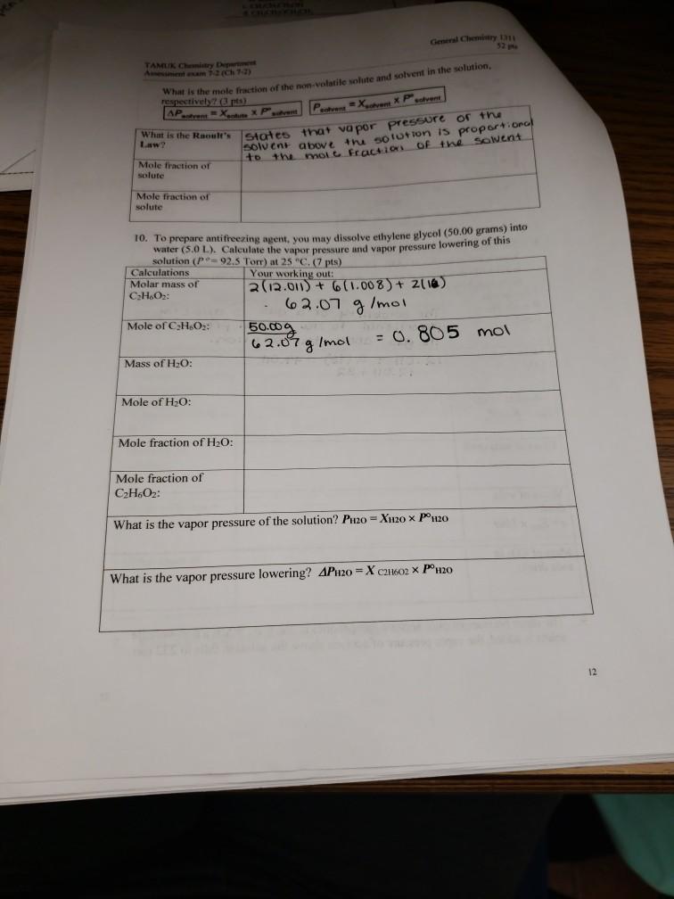 Solved: General Chemistry 131 52 Pls TAMUK Chemistry Depar