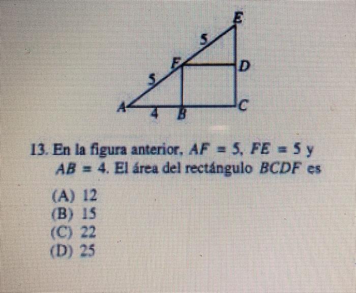 Solved  13. En La Figura Anterior, AF-S, FE 5 Y AB 4. El á ... c2cde324cb