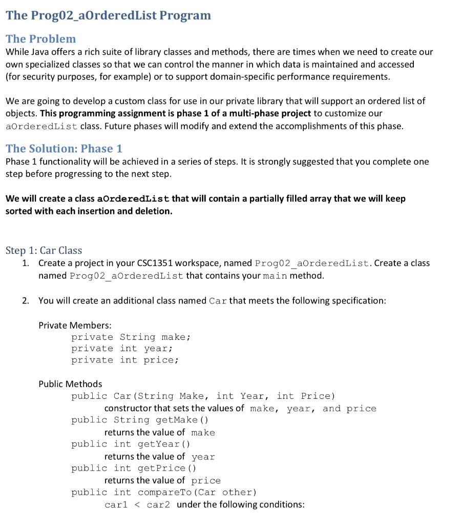 Solved The Prog02 Aorderedlist Program The Problem While