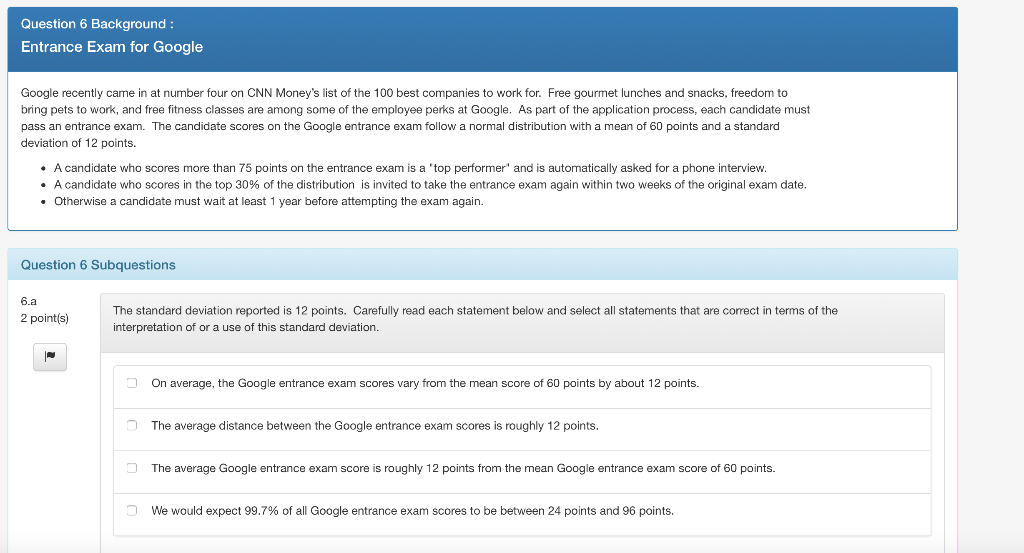 Solved: Question 6 Background Entrance Exam For Google Goo