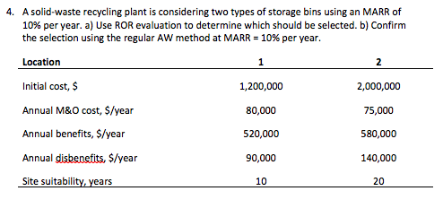 Asolid-waste recycling plant is considering two types of storage bins using an MARR of 10% per year. a) Use ROR evaluation to determine which should be selected. b) Confirm the selection using the regular Aw method at MARR-10% per year. 4. Location Initial cost, $ Annual M&O cost, S/year Annual benefits, S/year Annual disbenefits, $/year Site suitability, years 1,200,000 80,000 520,000 90,000 10 2,000,000 75,000 580,000 20