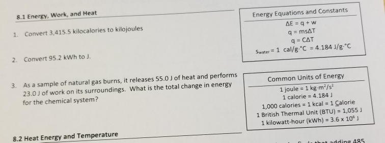 Solved 8 1 Energy Work And Heat Energy Equations And Co Chegg Com