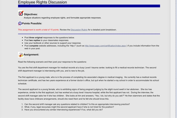 Solved: Employee Rights Discussion Objectives: Analyze Sit