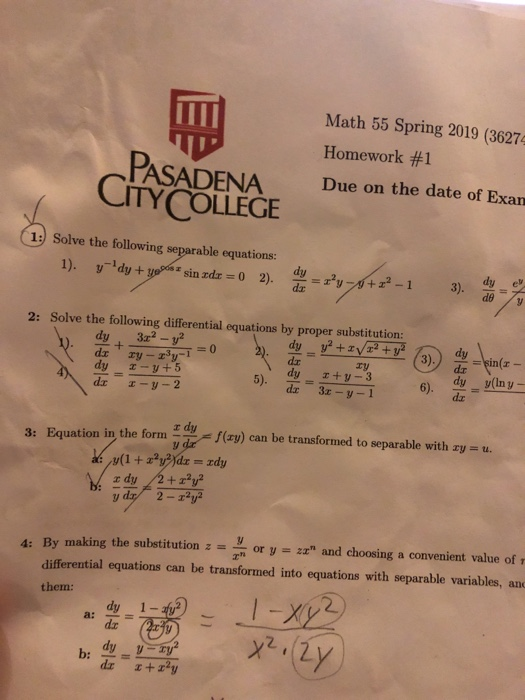 Solved: Math 55 Spring 2019 (36274 Homework #1 Due On The