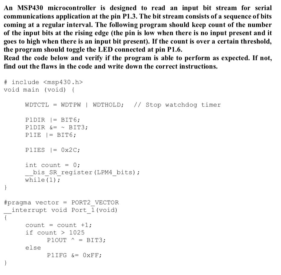 Msp430 Read Input Pin
