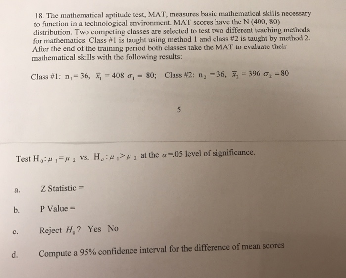 Solved: The Mathematical Aptitude Test, MAT, Measures Basi