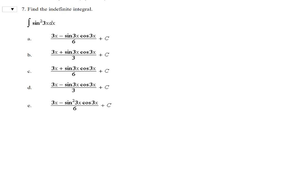 v7 find the indefinite integral sin зхах 3x sin3 chegg com
