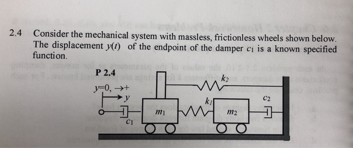 2.4 Consider the mechanical system with massless, frictionless wheels sho The displacement y) of the endpoint of the damper ci is a known specified function P 2.4 k2 C2 ky m2 C1
