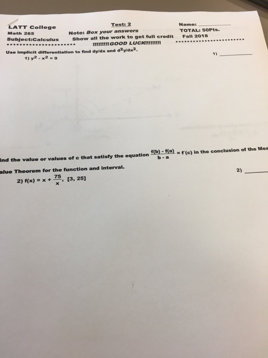 Solved: LATT College Math 265 Test: 2 Name1 Note: Box Your