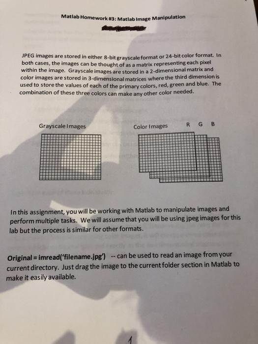 Solved: Matlab Homework #3: Matlab Image JPEG Images Are S