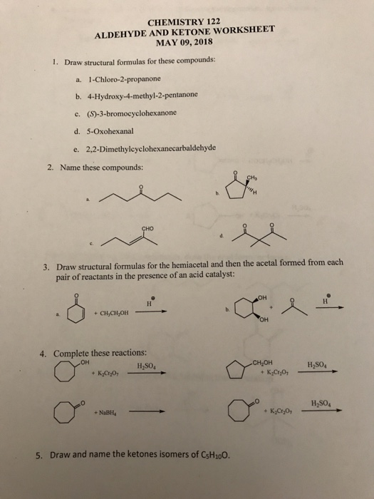 Solved Chemistry 122 Aldehyde And Ketone Worksheet May 09
