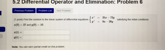 Solved: 5 2 Differential Operator And Elimination: Problem