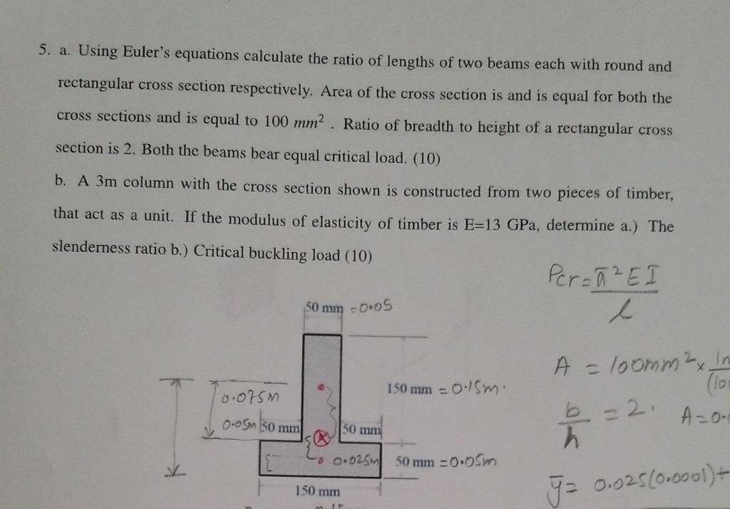 Euler buckling load calculation (example 2) mechanics of.