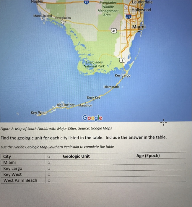 Complete Map Of Florida.Solved Find The Geologic Unit For Each City Listed In The