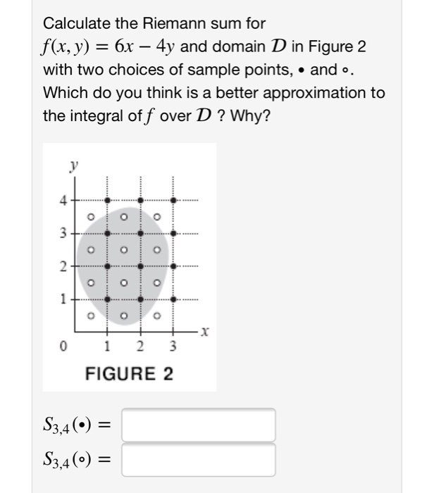 Solved Calculate The Riemann Sum For Fx Y 6x 4y And
