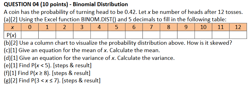 Solved: QUESTION 04 (10 Points) - Binomial Distribution E