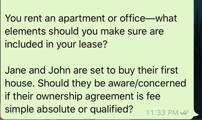 Solved You Rent An Apartment Or Office What Elements Shou