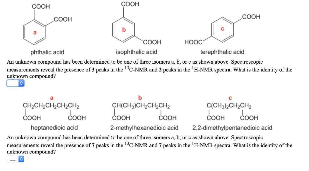 COOH HOOC Phthalic Acid Isophthalic Terephthalic An Unknown Compound Has