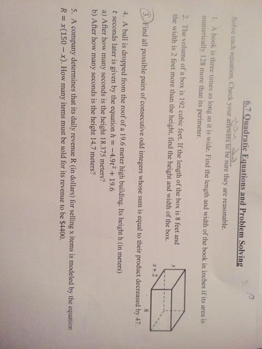 problem solving with quadratics