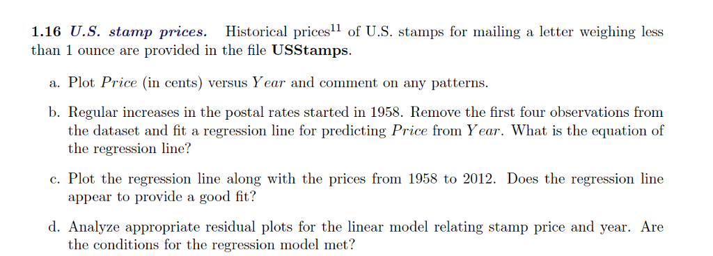 Solved 1 16 U S Stamp Prices Historical Prices11 Of U S