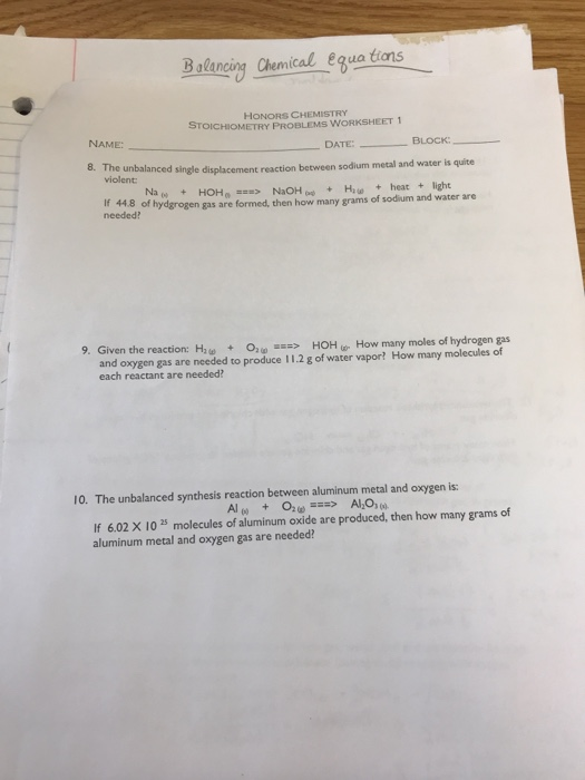 Solved Honors Chemistry Stoichiometry Problems Worksheet Chegg Com