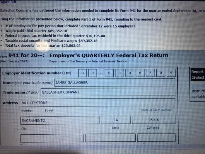941 form address  Solved: Gure 10.10 Gallagher Company Has Gathered The Inform ...