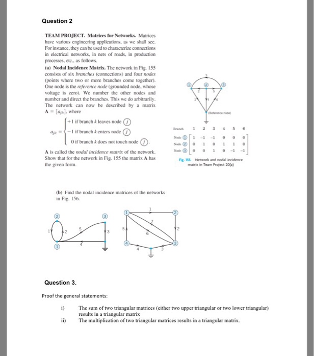 Solved: Question 2 TEAM PROJECT  Matrices For Networks  Ma