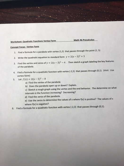 Solved Worksheet Quadratic Functions Vertex Form 1 Find