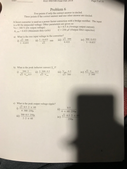 Solved: ELE 440 540 Final Fall ZoTS Page 7 Of 10 Problem 6